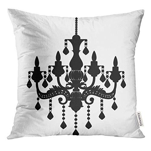 artyly Kissen KissenbezugSchwarzer Wand-Leuchter-Schattenbild-Weiß- Kandelaber-Weinlese Decor Square Accent Pillowcase 45x45 cm -