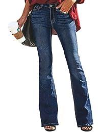 Aleumdr Mujer Pantalones Acampanados Vaqueros Cintura Alta Jeans de Mujer Size S-XXL