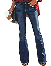 3a1e837586 Aleumdr Mujer Pantalones Acampanados Vaqueros Cintura Alta Jeans de Mujer  Size S-XXL
