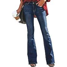 Aleumdr Mujer Pantalones Acampanados Vaqueros Cintura Alta Jeans de Mujer  Size S-XXL 6cdec055bb06