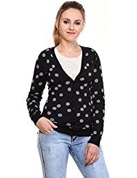 MansiCollections Black Grey Polka dot Cardigan for Women