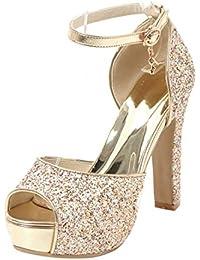 485bacbf8ee Coolulu Mujer Sandalias Tacón Alto con Plataforma Zapatos con Lentejuelas Correa  Tobillo con Hebilla Peep Toe