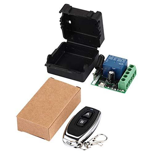 Uzinb 12V One Way Interruptor de relé Secure Remote Control Remoto Set 2 Llaves 433MHz Receptor inalámbrico