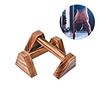Awtang Wood Parallettes Set of 2,Push up Bars stand,25CM 400KG Load Handstand Bar,Gymnastics Bars, Calisthenics Yoga Fitness Parallel Bars Russian Style Charcoal Wood suitable