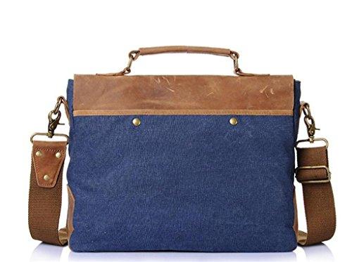 SHFANG Vintage Canvas Tasche / Mann Schultertasche / Umhängetasche, Handtasche, Aktentasche, Einkaufen / Arbeit / Reisen , coral blue dark blue