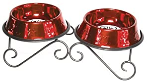 Platinum Pets 32oz Double Diner Stand With Stainless Steel Dog Bowls In Candy Apple Red from Platinum Pets, Inc