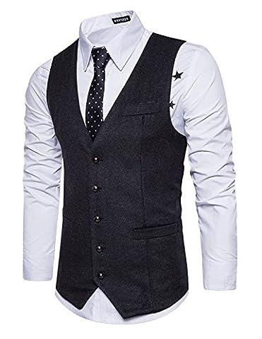 Leisure Herren Anzugweste Gentleman Basic Mode Einreiher Fünf Knöpfe Weste,Grau 2,L