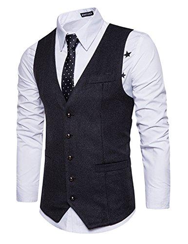 Leisure Herren Anzugweste Gentleman Basic Mode Einreiher Fünf Knöpfe Weste,Grau 2,XXL (Zwei-knopf-blazer Mit Einreiher)