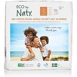 Eco by Naty Premium Pannolini monouso per pelli sensibili, taglia 5, 11-25 kg, 6 confezioni da 22 (132 Count)