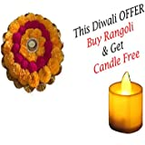 Nirshrut Artificial Flower Real Look Round Shape Rangoli With ! Tea Light Led Candle Free