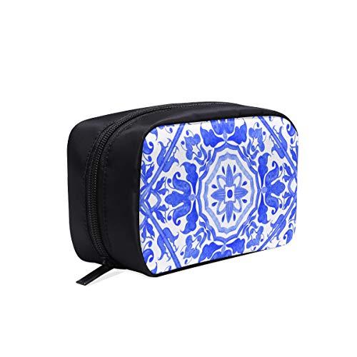 Gelb Und Blau Design Print Tragbare Reise Make-Up Kosmetiktaschen Organizer Multifunktions Fall Kleine Kulturbeutel Für Frauen Und Männer Pinsel Fall -