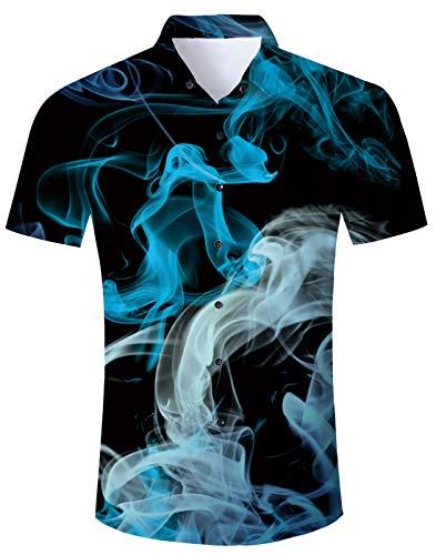 Idgreaim Hawaiihemd Hemden Shirs für Junioren 3D bedruck urn Down Hemden Shir Freizei Floral Hemden Shirs
