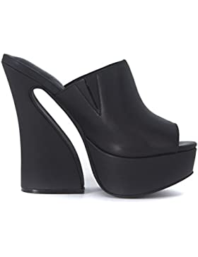 Jeffrey Campbell Dayana Leather Black Sabot alto donna