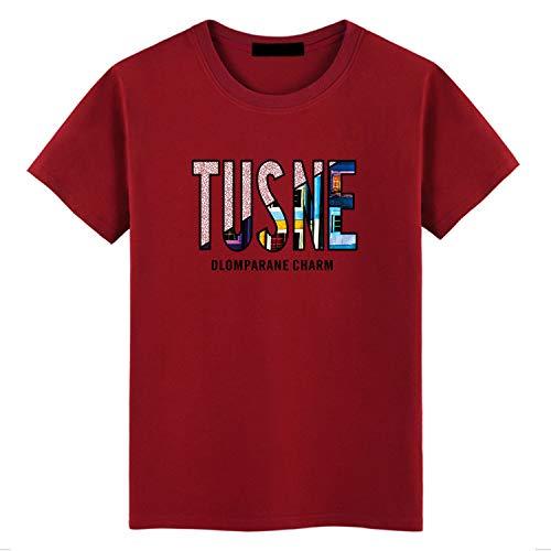 T-Shirt Manica Corta da Uomo in Cotone Girocollo Stampa Lettera Summer Wine Red 3XL