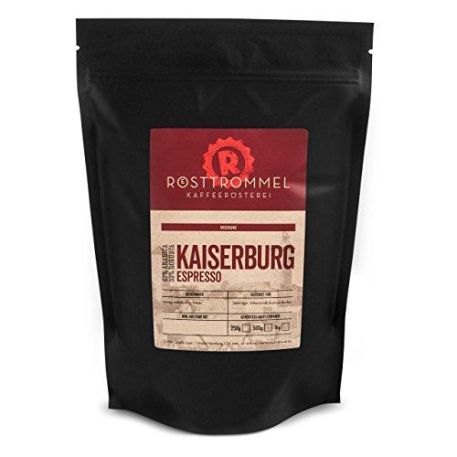 Espressobohnen KAISERBURG - Rösterei des Jahres 2017 - Kakaonote, mittelkräftig - handgeröstete ganze Kaffee-Bohnen für Vollautomaten und Siebträger - schöne Crema - wenig Säure - Premium Espresso-Bohnen