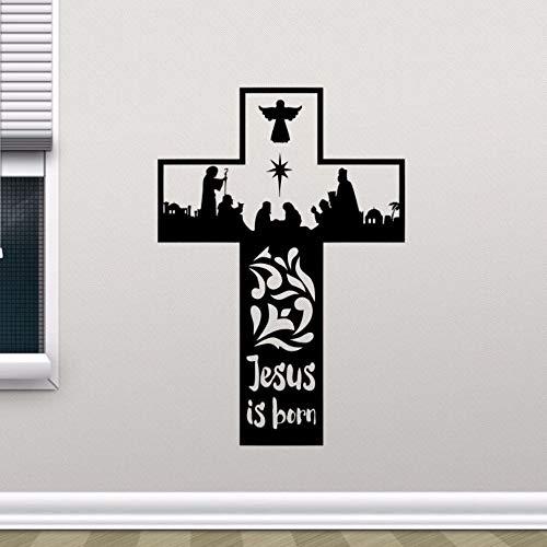 WWYJN Religion Vinyl Wall Sticker Removable Jesus Christ is Born Cross Wall Decal Home Bedroom Decor Vinyl Wall Art Mural red 57x83cm