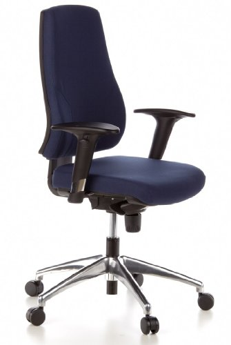 Best Price hjh OFFICE, 608010, Professional office chair, swivel, executive, PRO-TEC 200, darkblue, robust fabric, Ergonomic backrest height adjustable in 5 positions, thick upholstered comfort seat with synchro mechanism, computer desk chair with heigth adjustable armrests with softpads Discount