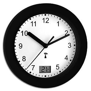TFA Dostmann 60.3501.01 Funk-Badezimmeruhr mit Temperatur, Schwarzweiß