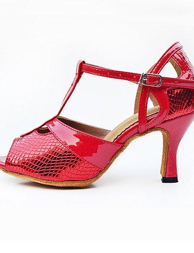 La mode moderne Sandales femmes personnalisables verni semelle en cuir chaussures de danse salsa/latin/moderne /Swing Noir Talon Chaussures de danse latino/Sneakers/tap Red