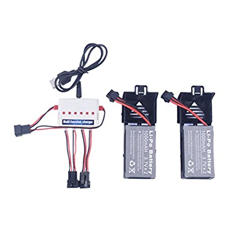 YouCute 1to3 chargeur et 2 pièces 7.4V 1000mAh noir batteries pour UDI U842 U842-1 U818S RC quadcopter pièces de rechange