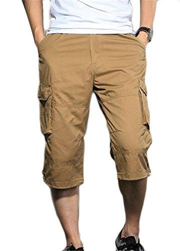 Gocgt Men Cargo Pants Army Casual Multi-Pocket Loose Outwear Shorts
