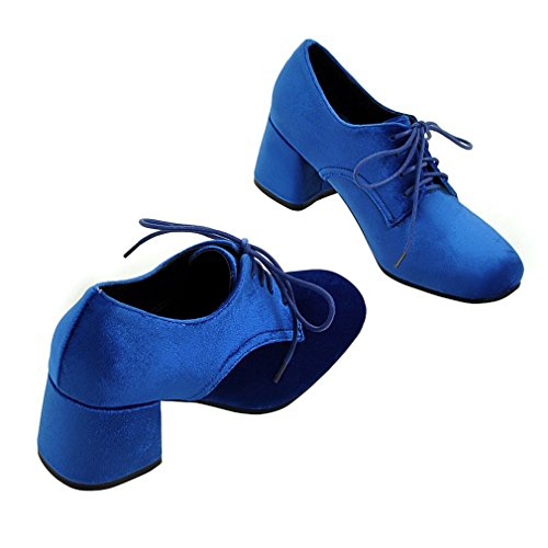 Pompe Blocchi Lace Enmayer Di Profondo Quadrata Donna Punta Talloni up En Poco Daim Morbide Bleu Femmes Carina 1PHZqz