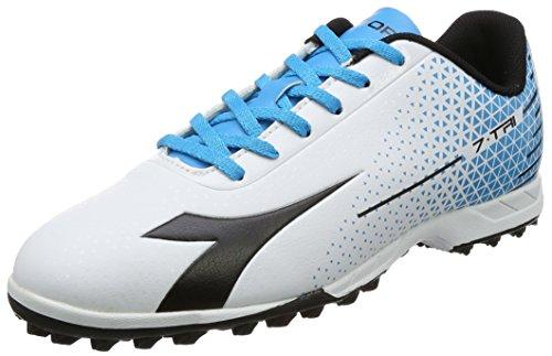 Diadora 7-Tri TF, Chaussures de Football Homme Blanc Cassé (Bianco/nero/blu Fluo)