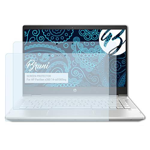 Bruni Schutzfolie kompatibel mit HP Pavilion x360 14-cd1005ng Folie, glasklare Bildschirmschutzfolie (2X)