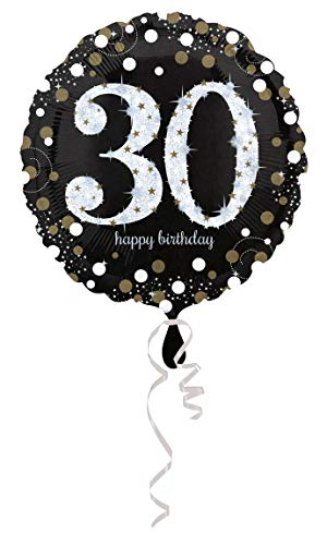 amscan 3212901 Folienballon 30 Sparkling Birthday, Schwarz, Silber, - Hit Girl Fancy Dress Kostüm