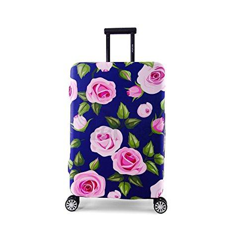 Periea Elasticizzata Coperture per valigie - 13 colori disponibili - Piccolo, Medio o Grande (Purple with Pink Roses, Grande)