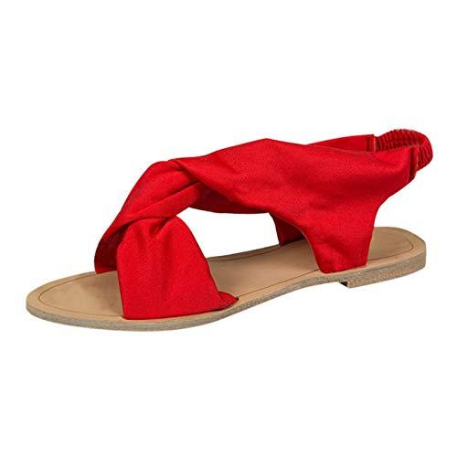 Minetom Sandalen Damen Sommer Sandaletten Flachen Frauen Knöchelriemchen Espadrille Bowknot Flip Flop Römisch Offene Bequeme Elegante Schuhe B Rot 40 EU