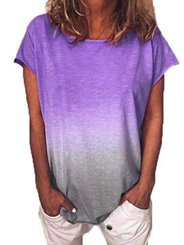 Yutila Damen Kurzarm T-Shirt Beiläufig Farbverlauf Shirt Sommer Lose Shirt Tees -