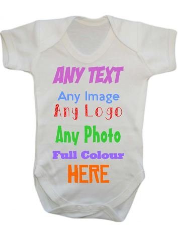 Price comparison product image ANY NAME TEXT IMAGE PICTURE LOGO Personalised Custom Baby Grow Vest bodysuit onesie