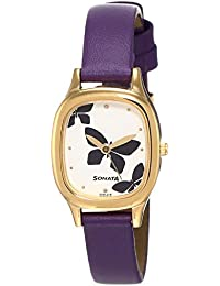Sonata Analog White Dial Women's Watch -NK8060YL01