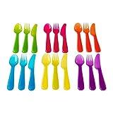 Set di posate in plastica in colori assortiti, confezione da 18, design moderno,...