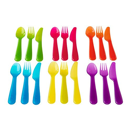 Modern Trendy Fancy Design Good Quality Plastic Cutlery Set in Assorted Colours Pack Of 18
