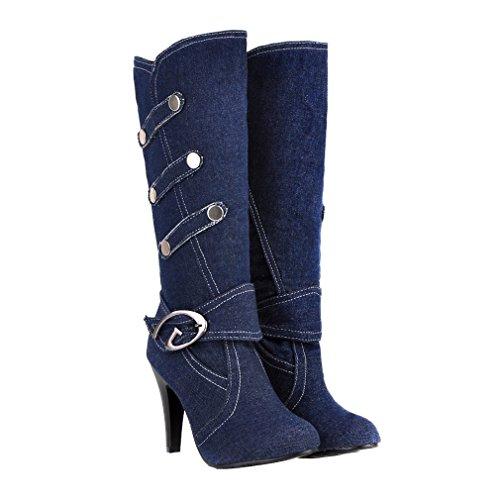 Xianshu Mujeres Denim Cinturón Hebilla Tacón Alto Zapatos Manga Cálido Mitad de la Pantorrilla Botas (Azul-38 EU)