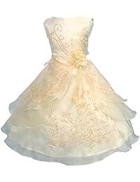 a1f22dbdb85d LSERVER- Pizzo Floreale Bowknot del Organza ragazza vestito ricamato con  paillette da ragazza Princess-Abito da…