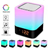 Night Lights Bluetooth Speaker,Bedside Lamp Touch Control Alarm Clock Color LED Color Changing