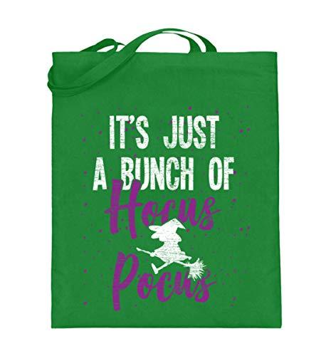 Shirtee Es ist nur Hocus Pocus - Hexe - Hexen Halloween Kostüm - Jutebeutel (mit langen Henkeln) -38cm-42cm-Helles Grün