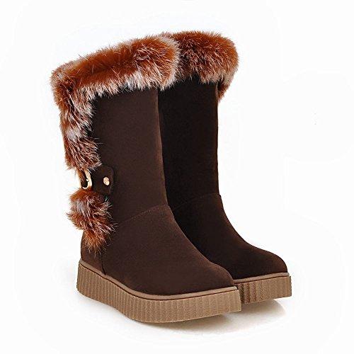Mee Shoes Damen runde Nubukleder Niedrig Pompon Stiefel Braun