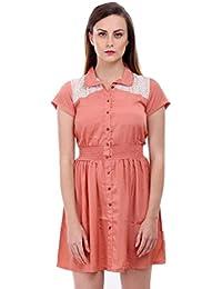 Bonhomie Women Blush Peach Lace Yoke Collar Midi Dress