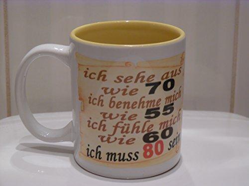 Handmade by GmH Kaffeebecher zum 80. Geburtstag, als lustiges Geschenk für Oma/Opa