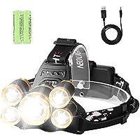 Laluztop Linterna Frontal LED Recargable Ultra Brillante con Batería Recargable, Impermeable 4 Modos de Luz Frontal Foco Ajustable para Acampar,Pescar, Bodegas, Acampar, Caminar - Oro