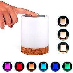 Lampe de chevet nomade LED avec contrôle tactile et design en bois | Veilleuse RGB portable de couleur changeante et intensité variable | Lanterne moderne rechargeable USB pour chambre, salon, jardin