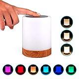 Lampe de chevet nomade LED avec contrôle tactile et design en bois | Veilleuse RGB...