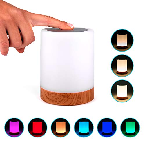 Lampara decorativa tactil con luz LED de colores para mesa, sobremesa o mesilla de noche | Lamparita RGB pequeña y recargable, de diseño moderno para decoracion de jardin, terraza, salon o habitacion
