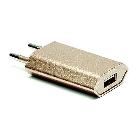 Original iProtect Premium High Speed Energie adaptateur USB chargeur pour tous les câbles à connecteur USB en doré