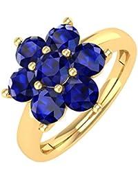 18K Gold Blue Sapphire Star Form Engagement Ring (11/4Karat)