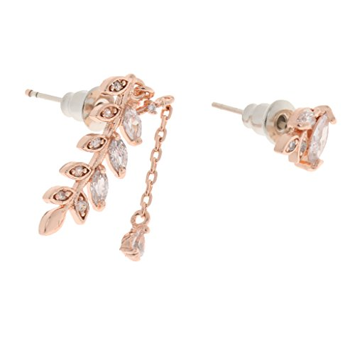 Generic Crystal Leaf Asymmetric Ear Stud Earrings Jewelry for Women Lady Gifts Rose Gold  available at amazon for Rs.230